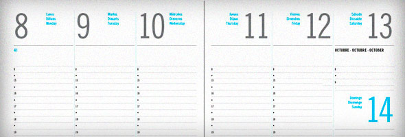 Agenda semana vista en Indesign