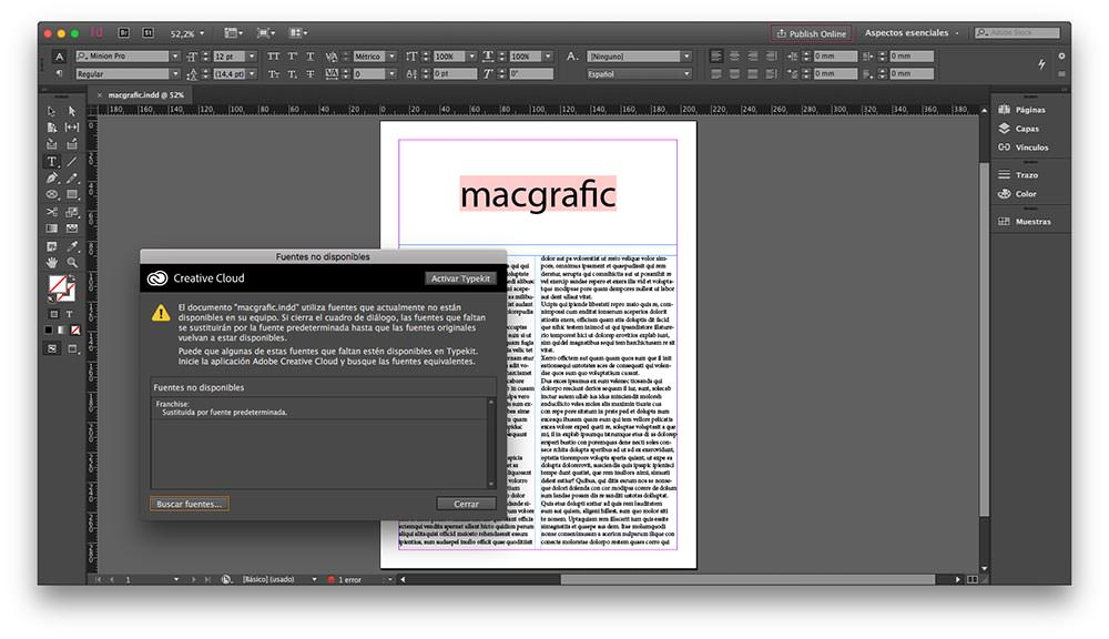document fonts indesign